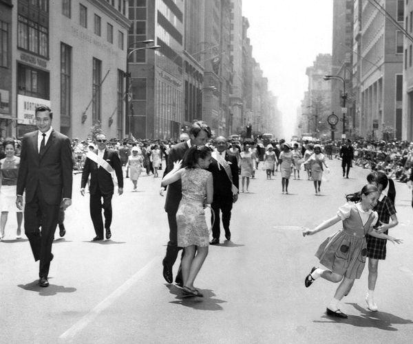 Children run out to greet Sen. Robert Kennedy (D-N.Y.) and Bronx Borough President Herman Badillo.