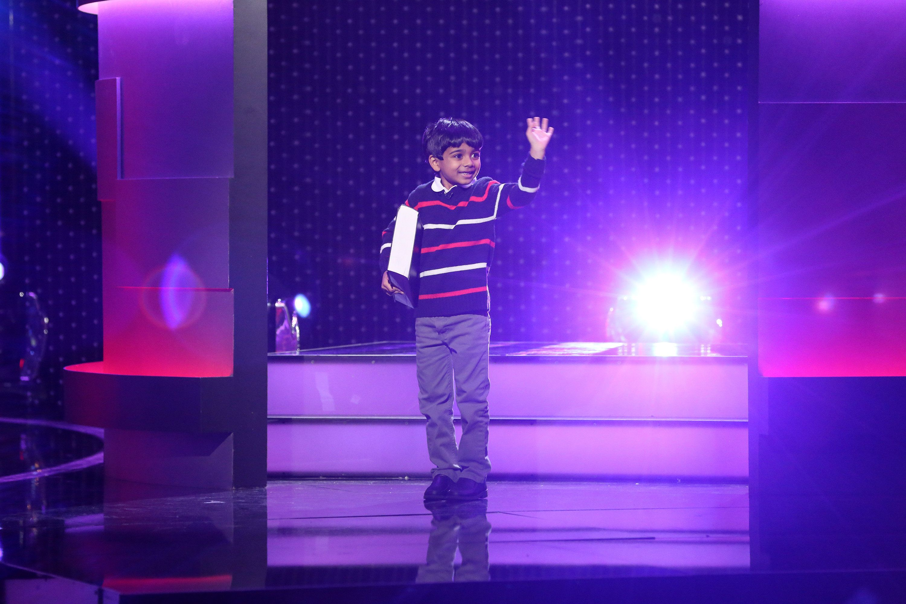 LITTLE BIG SHOTS -- 'Little Big Shots' Episode 101 -- Pictured: Akash Vukoti -- (Photo by: Danny Feld/NBC/NBCU Photo Bank via Getty Images)