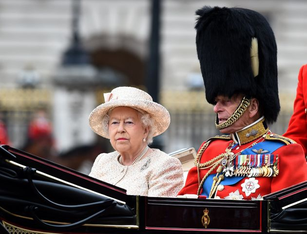 Queen Elizabeth ll and Prince Philip, Duke of Edinburgh attend the Trooping the Colour Ceremony in London...