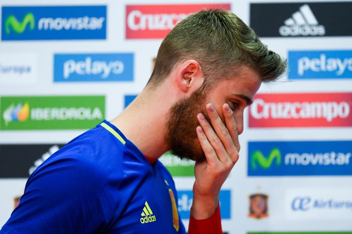 De Gea leaves Friday's press conference after denying all allegations.