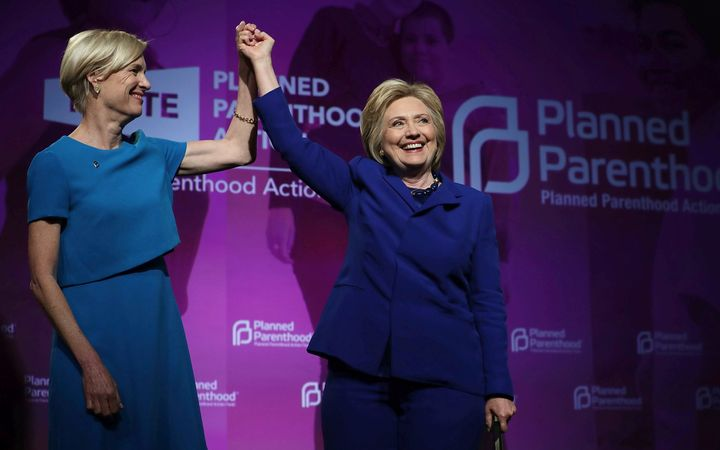 Presumptive Democratic presidential nominee Hillary Clinton with Cecile Richards, president of the Planned Parenthood Fe