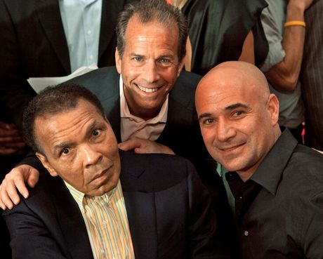 Muhammad Ali, Ivan Blumberg and Andre Agassi at an Athletes for Hope event.