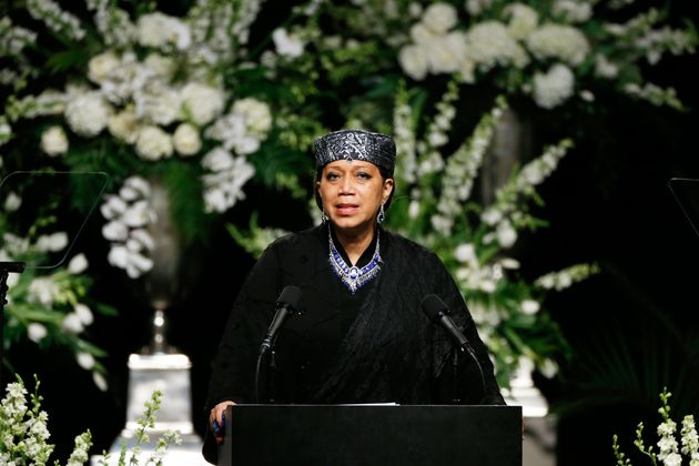 Ambassador Qubilah Shabazz, daughter of Malcolm X, speaks at a public memorial service for the late boxer...