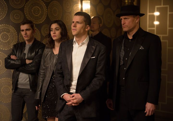 "Dave Franco, Lizzy Caplan, Jesse Eisenberg and Woody Harrelson star in ""Now You See Me 2."""