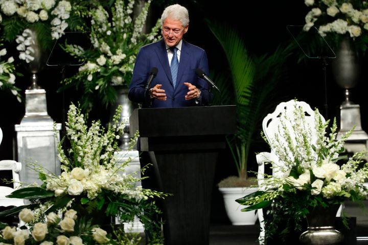 President Bill Clinton speaks during a memorial service for boxing legend Muhammad Ali on June 10, 2016 at the KFC Yum! Cente