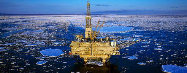 An oil production platform is pictured in the icy water of Cook Inlet, Trading Bay,