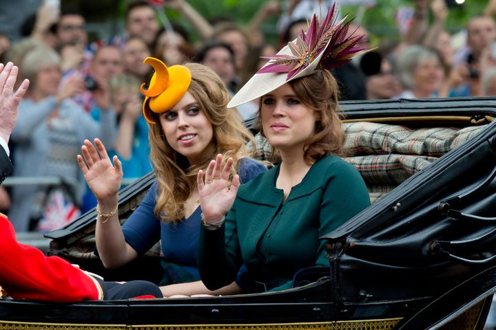 Princess Beatrice and Princess Eugenie traveled with the family by carriage.