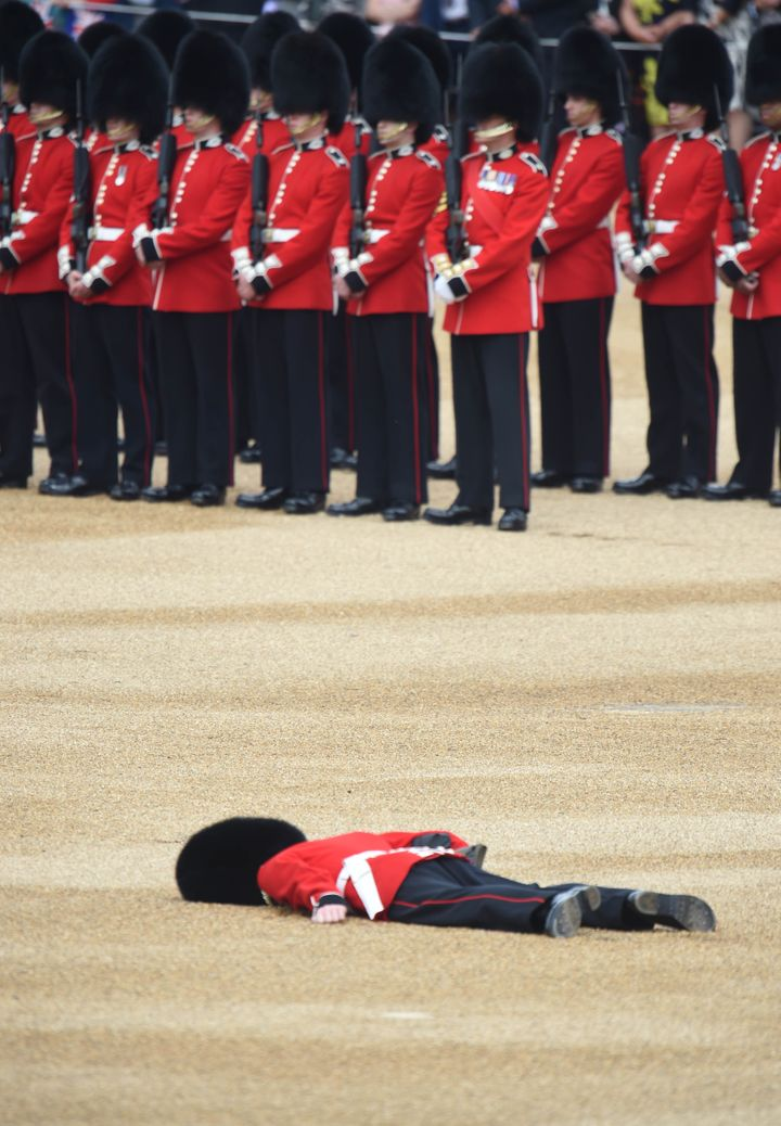A member of the Queens Guard fainted during the ceremony.