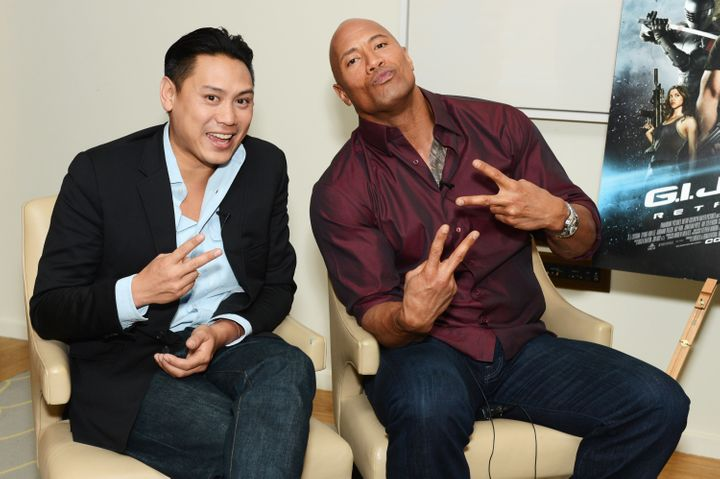 "Jon Chu and Dwayne Johnson snap a photo at the ""G.I. Joe: Retaliation"" junket in London."