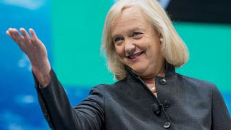 Meg Whitman, chief executive officer of Hewlett Packard Enterprise Co., smiles during the HP Discover 2016 Conference in Las Vegas, Nevada, U.S., on Wednesday, June 8, 2016. Whitman is open to public-cloud partnerships with Amazon.com Inc. and Google after a deal with Microsoft Corp.'s service provided a look at how she'll try to navigate the market with a slimmer company. Photographer: Jacob Kepler/Bloomberg via Getty Images