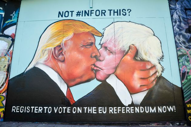 Bristol graffiti of Boris Johnson and Donald
