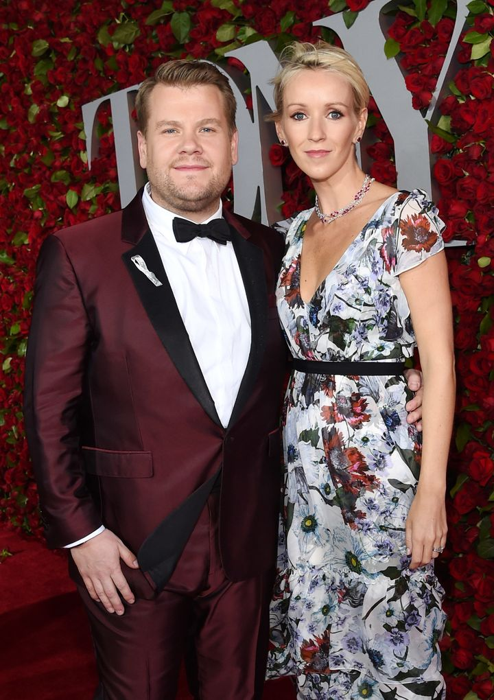 James Corden and Julia Carey attend the 70th Annual Tony Awards.