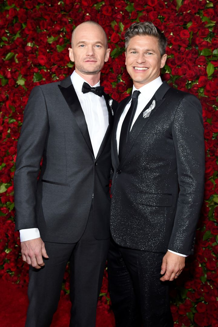 Neil Patrick Harris and David Burtka attend the 70th Annual Tony Awards at The Beacon Theatre.