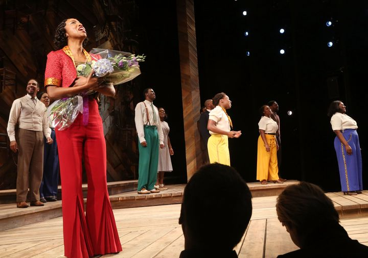 "Heather Headley, Cynthia Erivo, Danielle Brooks and cast take the curtain call at ""The Color Purple"" on Broadway."