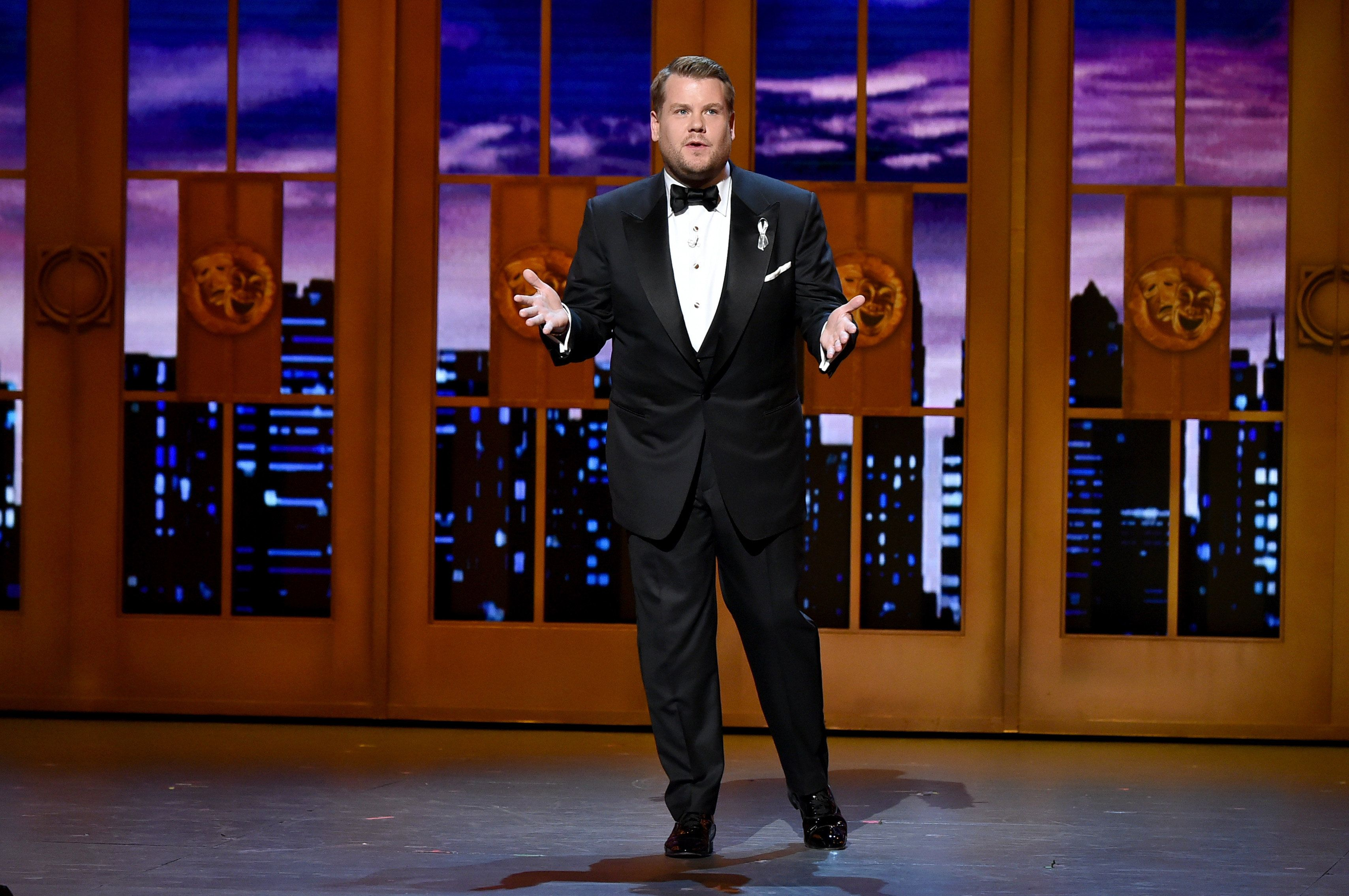 James Corden speaks onstage during the 70th Annual Tony Awards at The Beacon Theatre.