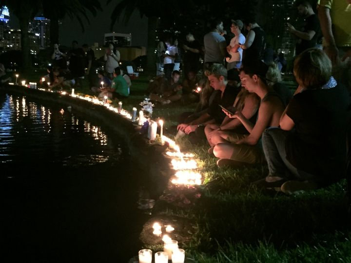 A candlelight vigil at Lake Eola Park.