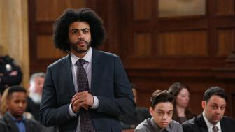 LAW & ORDER: SPECIAL VICTIMS UNIT -- 'Forty-One Witnesses' Episode 1714 -- Pictured: Daveed Diggs as Counselor Louis Henderson (Photo by: Will Hart/NBC/NBCU Photo Bank via Getty Images)