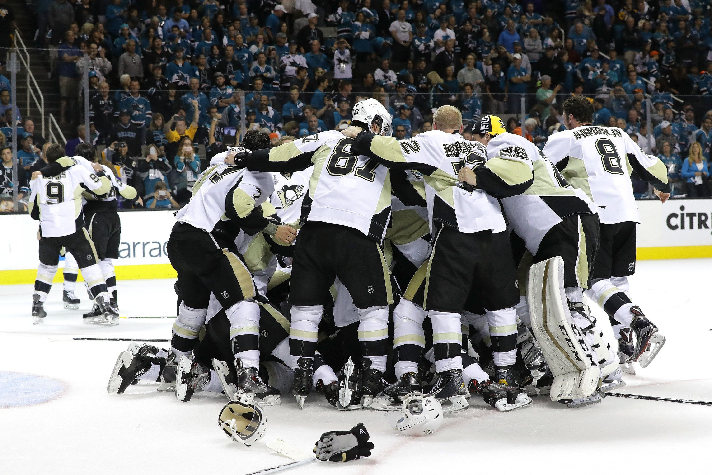 SAN JOSE, CA - JUNE 12:  The Pittsburgh Penguins celebrate after their 3-1 victory to win the Stanley Cup against the San Jose Sharks in Game Six of the 2016 NHL Stanley Cup Final at SAP Center on June 12, 2016 in San Jose, California.  (Photo by Robert Reiners/Getty Images)