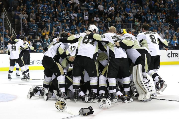 The Penguins celebrate after their 3-1 victory to win the Stanley Cup against the San Jose Sharks in Game Six of the 2016 NHL