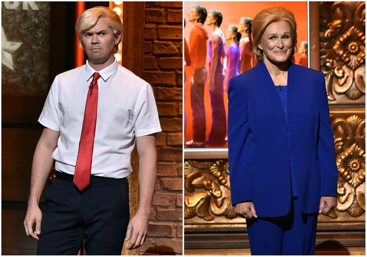 Andrew Rannells as Donald Trump and Glenn Close as Hillary Clinton at the 70th Annual Tony Awards.