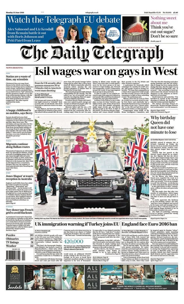 Monday's Daily Telegraph front