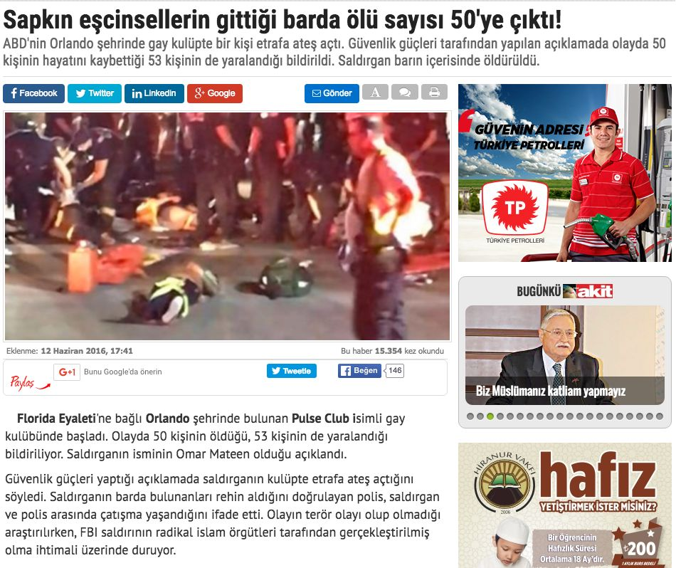 Turkish Newspaper Uses Homophobic Headline On Orlando