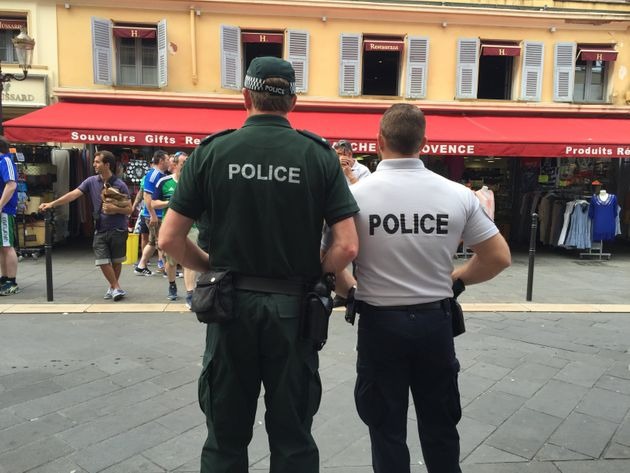 A Police Service of Northen Ireland officer with a Gendarmerie in Nice, France ahead of the Northern...