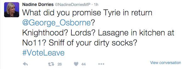 Nadine Dorries MP Deletes 'Sniffing Dirty Socks' Tweet Involving George Osborne And