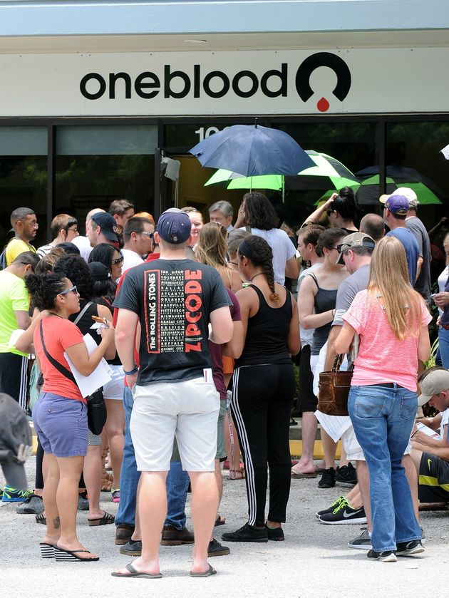 Long lines of people waiting at the OneBlood Donation Center to donate blood for the victims of the Pulse...