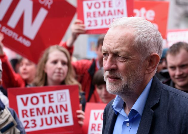 Labour leader Jeremy Corbyn during a visit to Aberdeen in Scotland, as he campaigns for a remain vote...