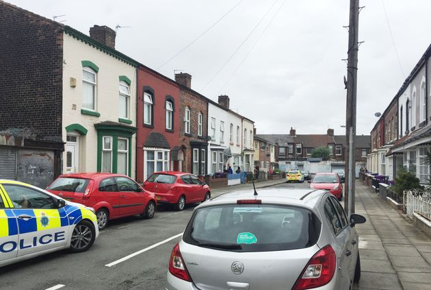 Police at the scene in Cathedral Road in Anfield, Liverpool, as a man has been arrested on suspicion...