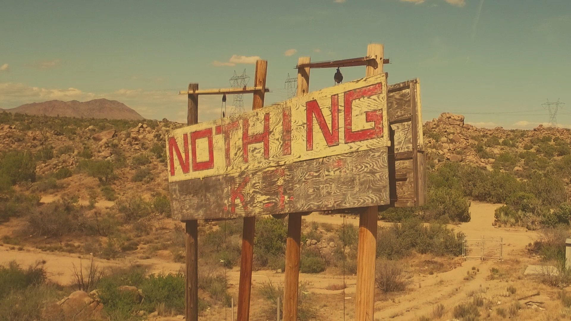 A sign in Nothing, Arizona advertises what you are likely to find in that town.