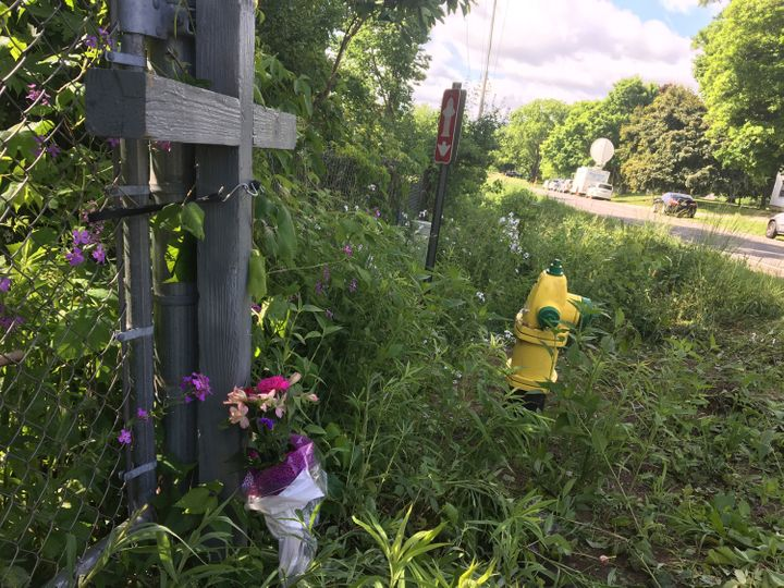 A makeshift memorial on North Westnedge Avenue north of Kalamazoo, Michigan, where a driver killed five bicyclists and injure