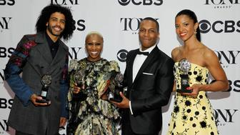 "(L-R) Actors Daveed Diggs holds his award for Best Performance by an Actor in a Featured Role in a Musical for ""Hamilton,"" Cynthia Erivo holds her award for Best Performance by a Leading Actress in a Musical for ""Hamilton,"" Leslie Odom, Jr. holds his award for Best Performance by a Leading Actor in a Musical for ""Hamilton"" and Renee Elise Goldsberry with the award for Best Performance by a Featured Actress in a Musical for ""Hamilton,"" pose backstage during the American Theatre Wing's 70th annual Tony Awards in New York, U.S., June 12, 2016. REUTERS/Andrew Kelly     TPX IMAGES OF THE DAY"