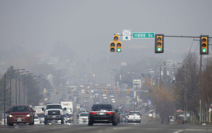 Smog in Sandy, Utah, during a period of particularly bad air pollution in February.