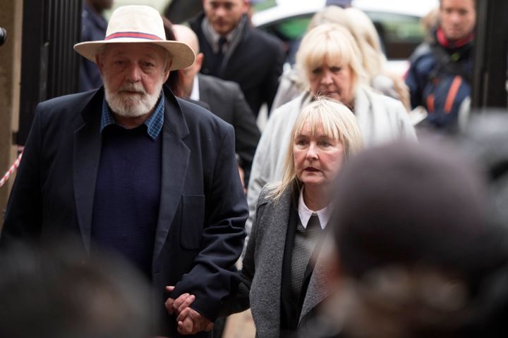 Barry and June Steenkamp, parents of murdered Reeva, are seen arriving for Pistorius' sentencing on Monday.