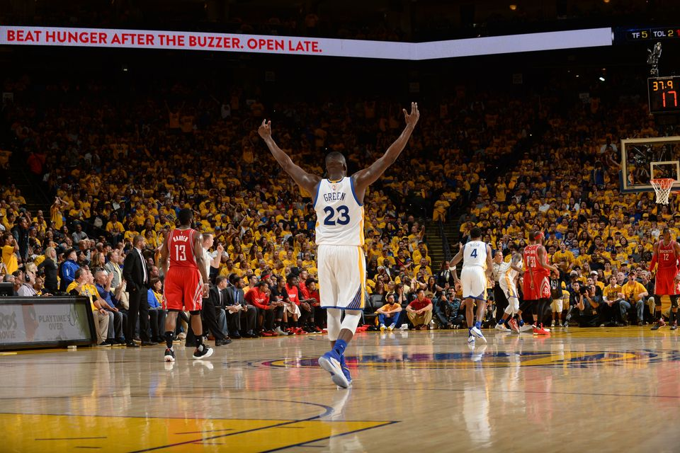 OAKLAND, CA - APRIL 27:  Draymond Green #23 of the Golden State Warriors celebrates during the game against the Houston Rocke