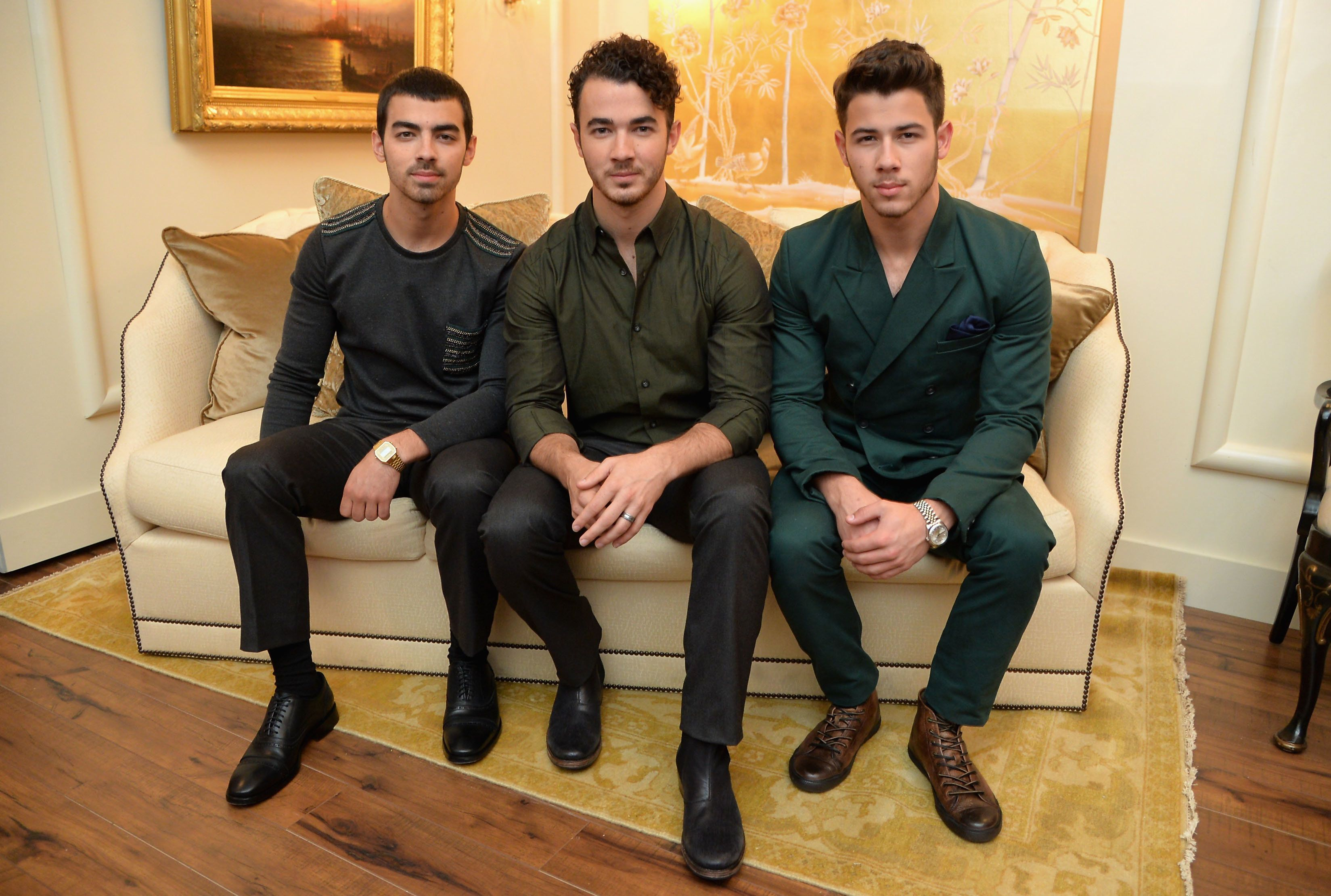 NEW YORK, NY - SEPTEMBER 05: (L-R) Joe Jonas, Kevin Jonas, and Nick Jonas of the Jonas Brothers attend the Mercedes-Benz Star Lounge during Mercedes-Benz Fashion Week Spring 2014 at Lincoln Center on September 5, 2013 in New York City.  (Photo by Mike Coppola/Getty Images for Mercedes-Benz)