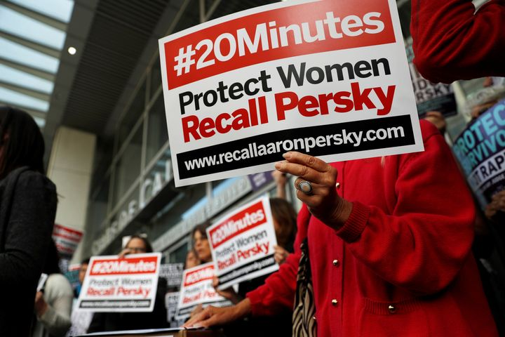 Activists in San Francisco, California hold signs calling for the removal of Judge Aaron Persky from the bench after his cont