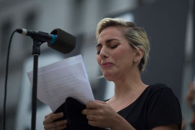 Gaga struggled to contain her emotions during the