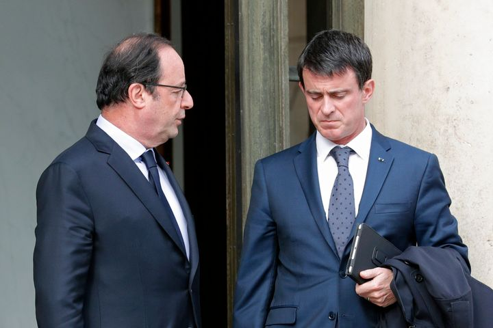 "French President Francois Hollande, left, said the killings were ""undeniably a terrorist act"" and that the terrorist thr"