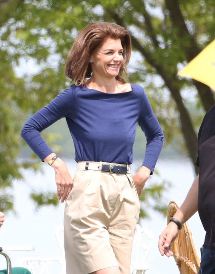 Katie Holmes as Jackie O on set in Toronto, Canada.