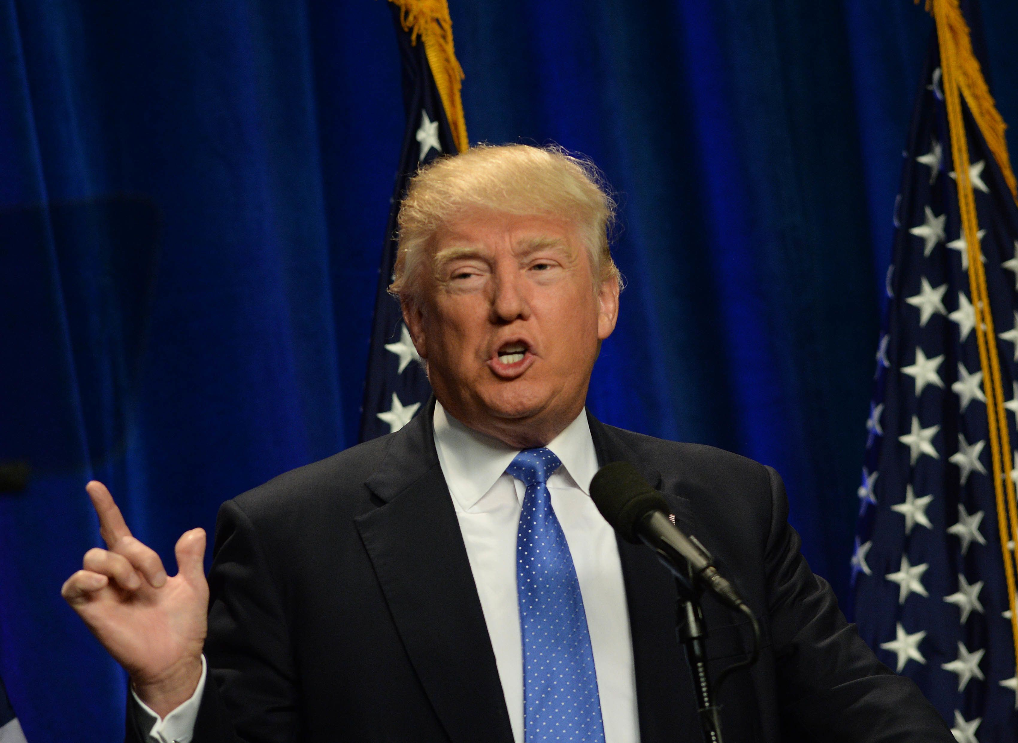 MANCHESTER, NH - JUNE 13: Republican Presidential candidate Donald Trump speaks at Saint Anselm College June 13, 2016 in Manchester, New Hampshire. Trump commented on the shooting in Orlando, condemning the violence he called radical Islam. (Photo by Darren McCollester/Getty Images)