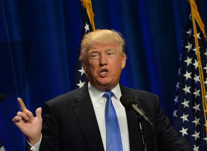 Donald Trump gives a fiery speech at Saint Anselm College on June 13 in Manchester, New Hampshire, on the Orlando shooti