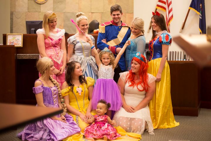 Five-year-old Danielle welcomed a few Disney princess friends at her adoption finalization hearing this month.