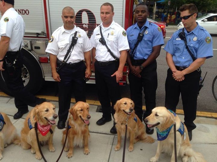 The dogs visit the Orlando PD.