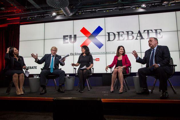 Left to right: Priti Patel, Boris Johnson, Aasmah Mir, Liz Kendall,Alex