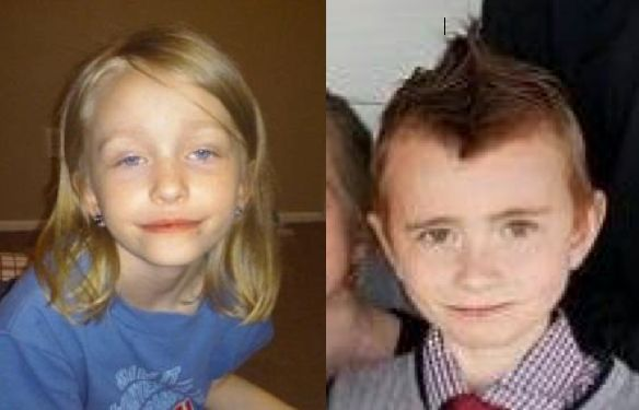 From left: Kaylee Dunn, 9, has blonde hair and blue eyes. Lewis Dunn, 10, has brown hair and brown eyes.