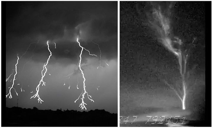"A composite image during two Florida thunderstorms showing (at left) downward lightning discharge as it spreads its ""limbs"" o"