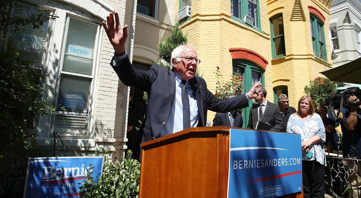 Democratic Presidential Candidate Bernie Sanders speaks to the media outside of his campaign headquarters June 14, 2016 in Wa